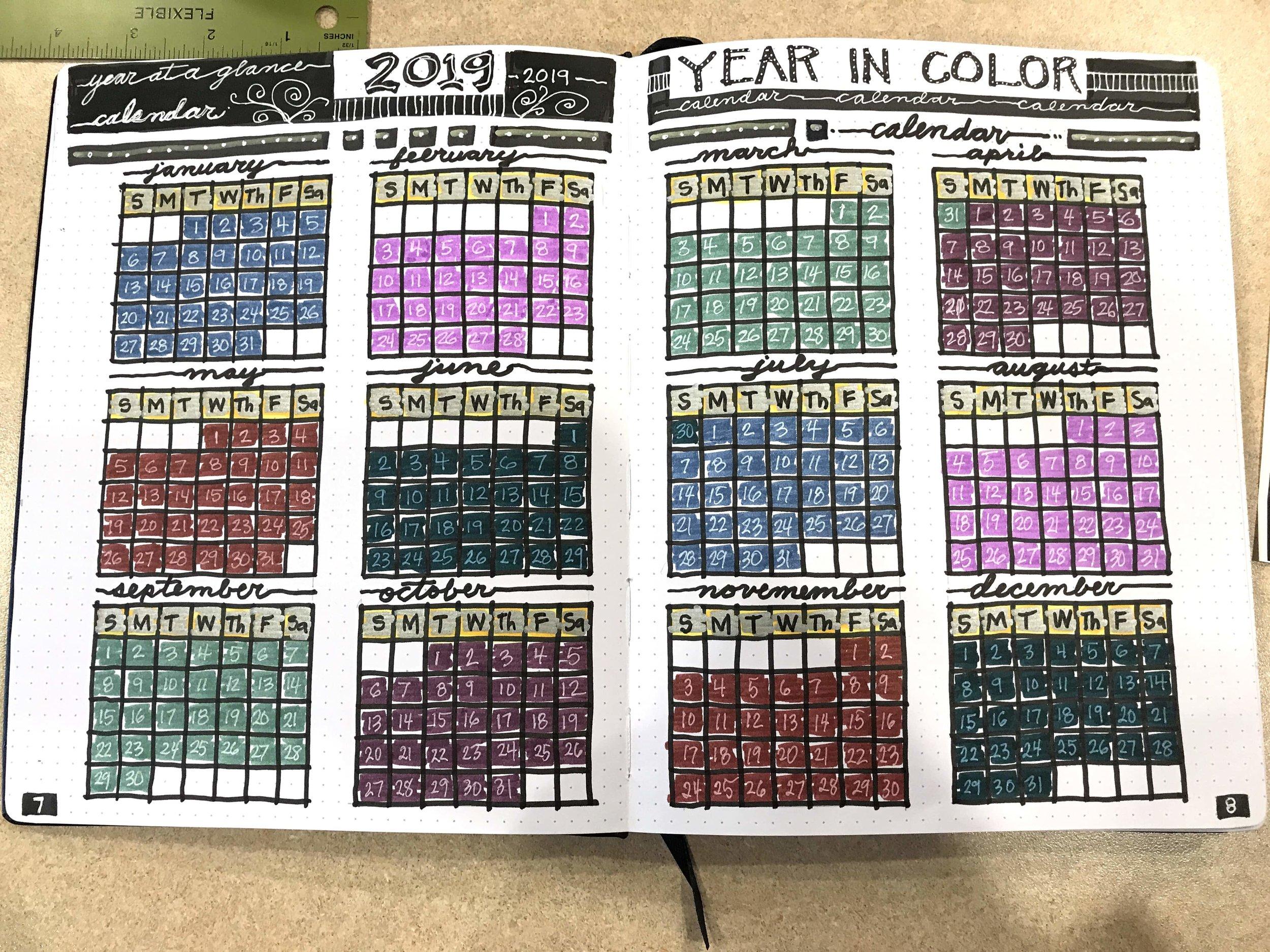 2019 Bullet Journal Year spread months Patricia Tiffany Morris bujo.jpg