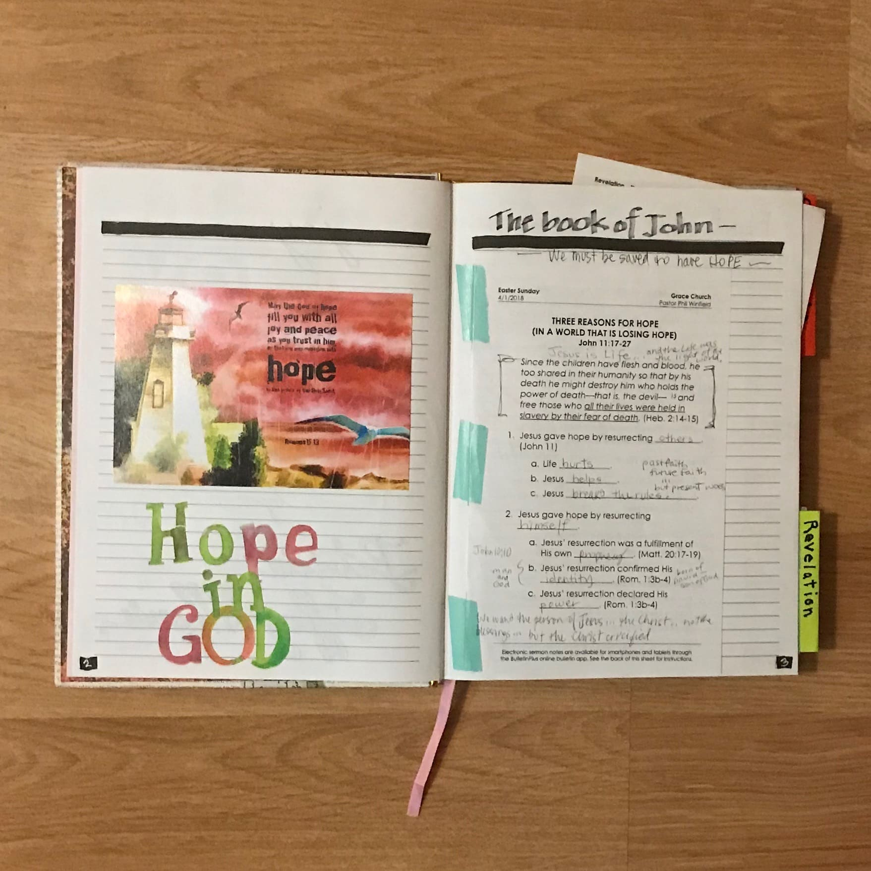 Study of the book of John during Sunday morning Worship. Washi-tape strange green color for INSIDE the book.