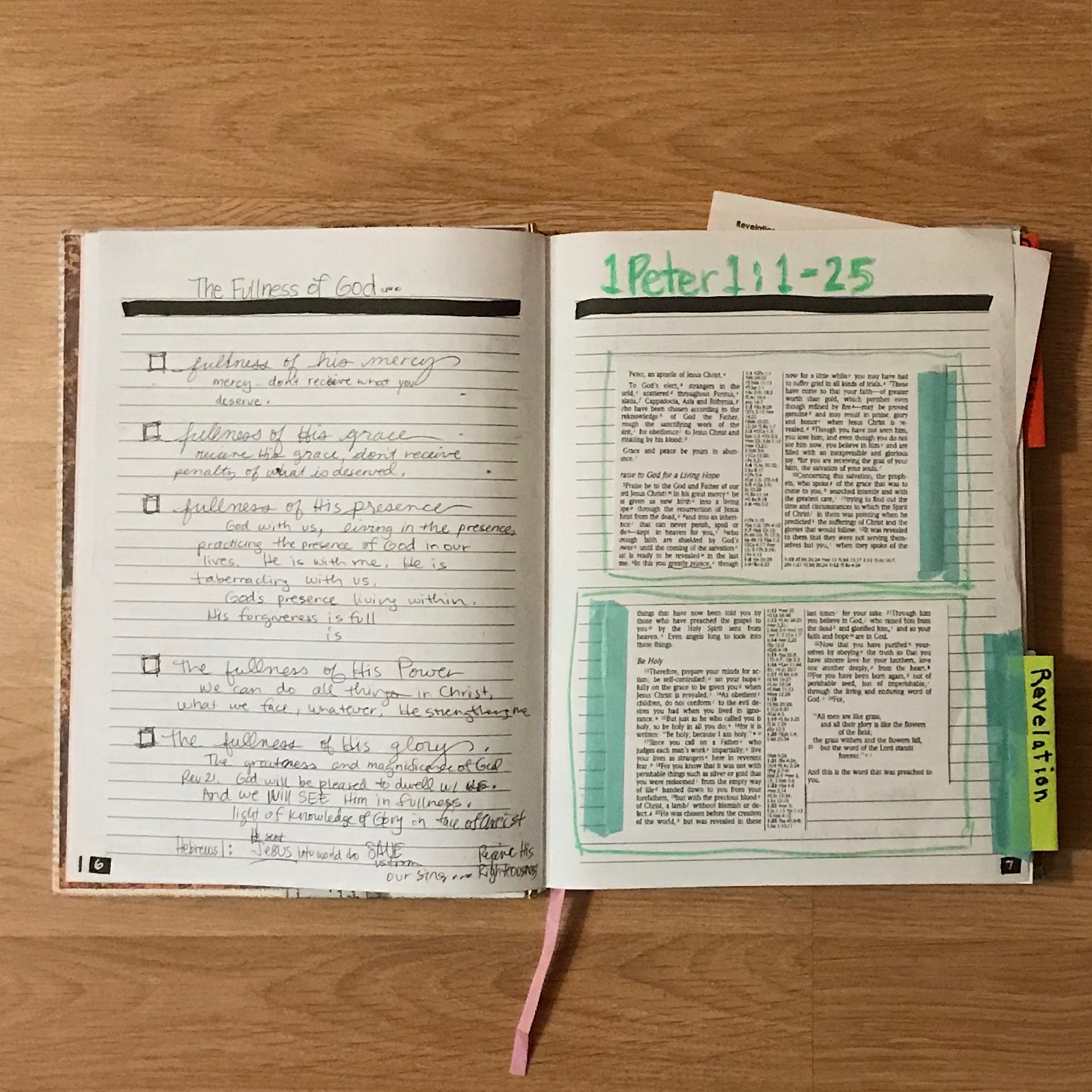 Scripture memory pages printed from Bible for quick access. Washi tape as hinged pages to write out the Scripture behind the panels.