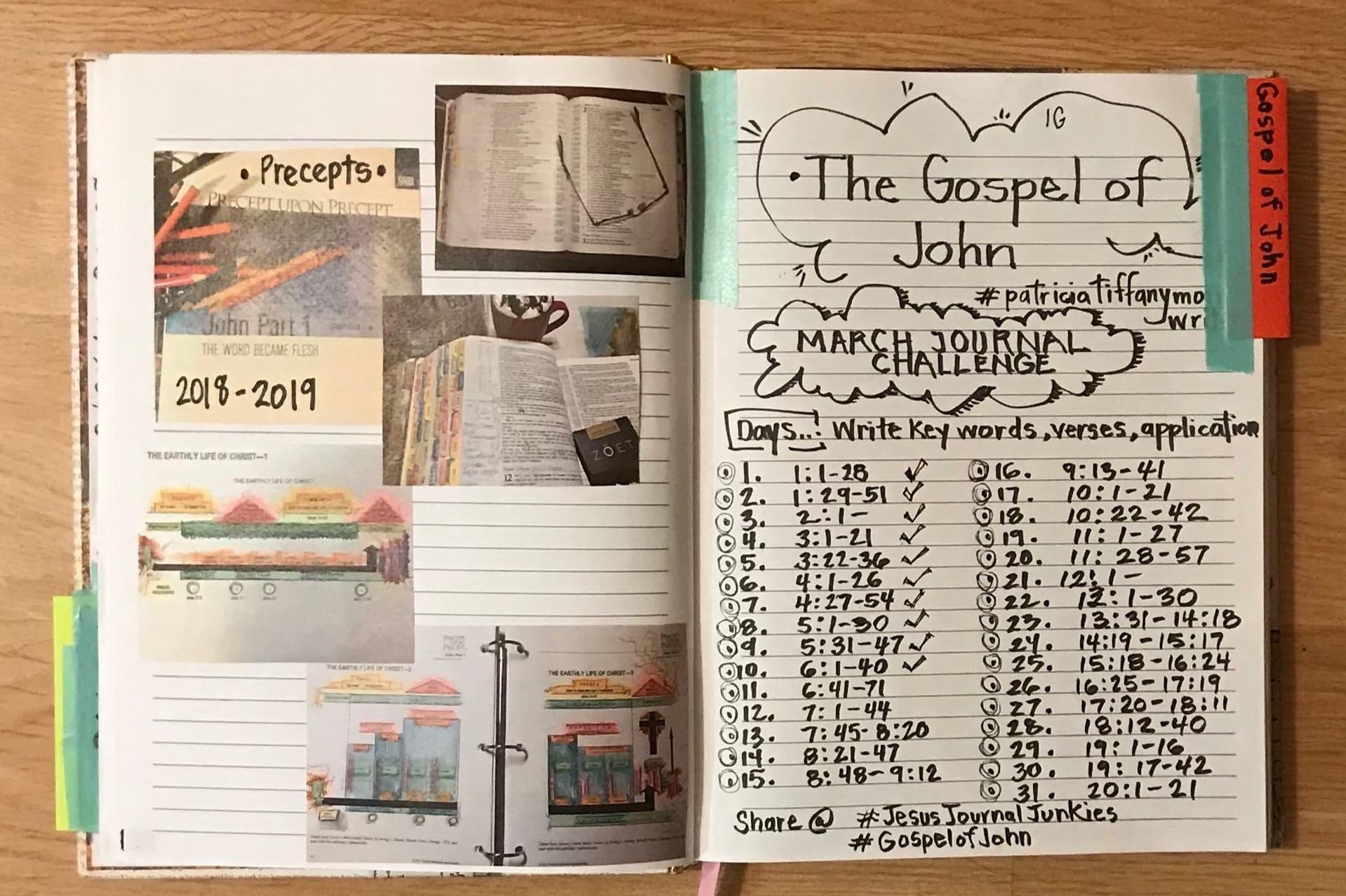 Instagram Author's Challenge 2019 and Precepts International Bible Study of the Gospel of John.