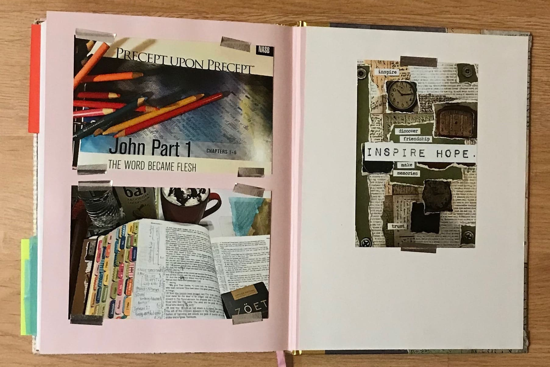 Photographs of my Bible, Coffee, and Chocolate. Colored Bible Index tabs and Prismacolors. Beautiful.