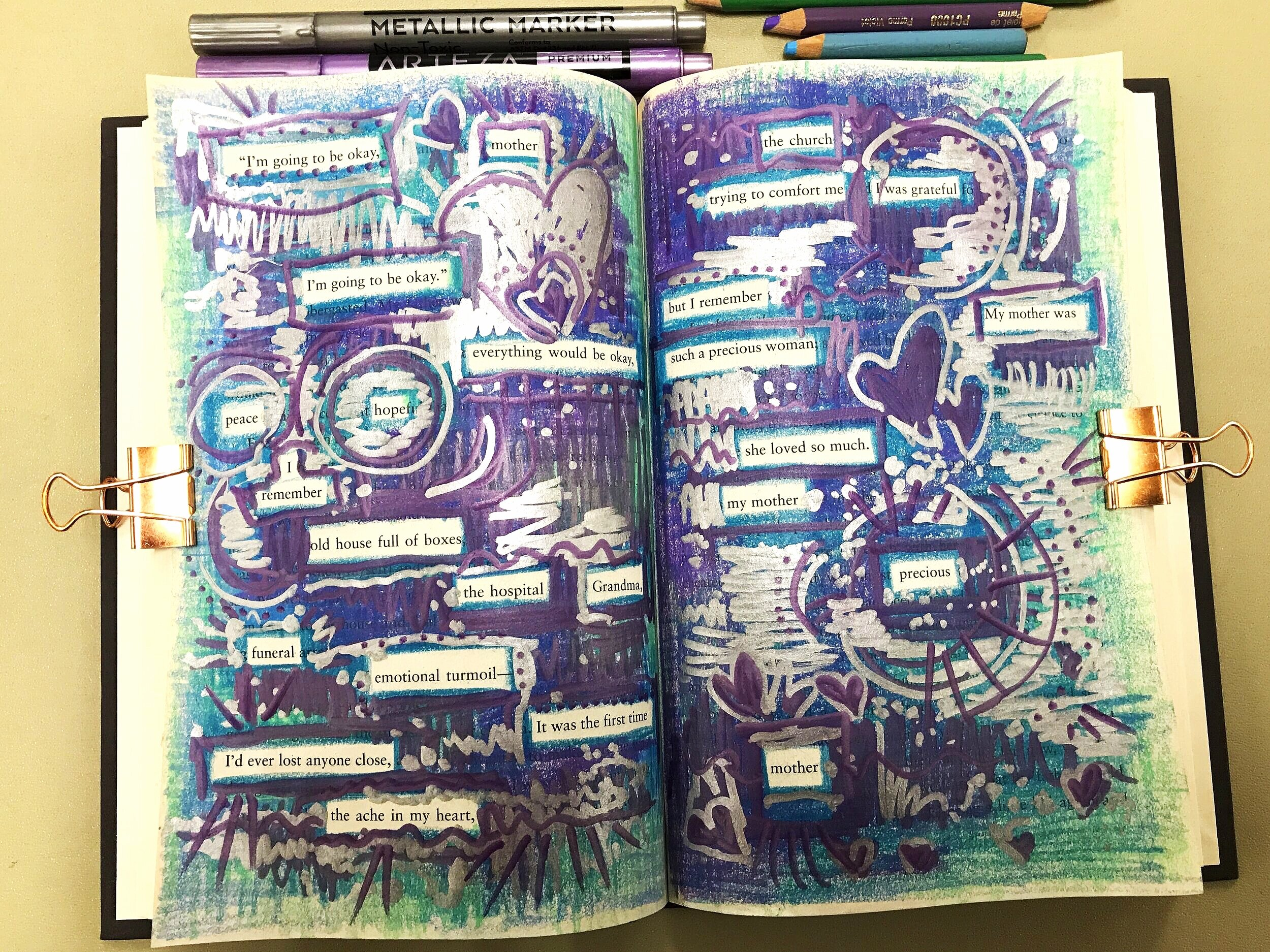 Completed page spread from book pages. See steps for poetry pages below.