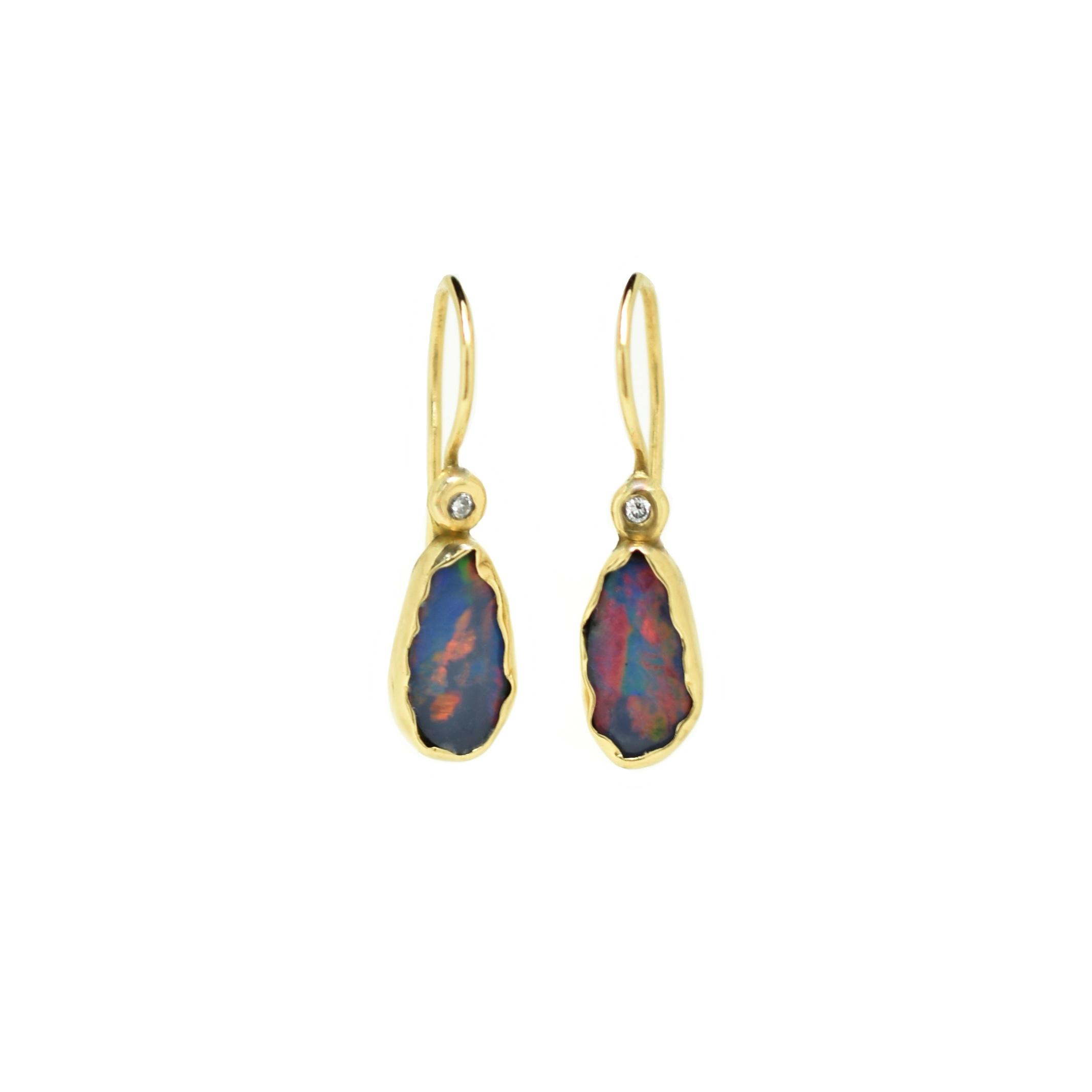 Oorhangers Opal diamant