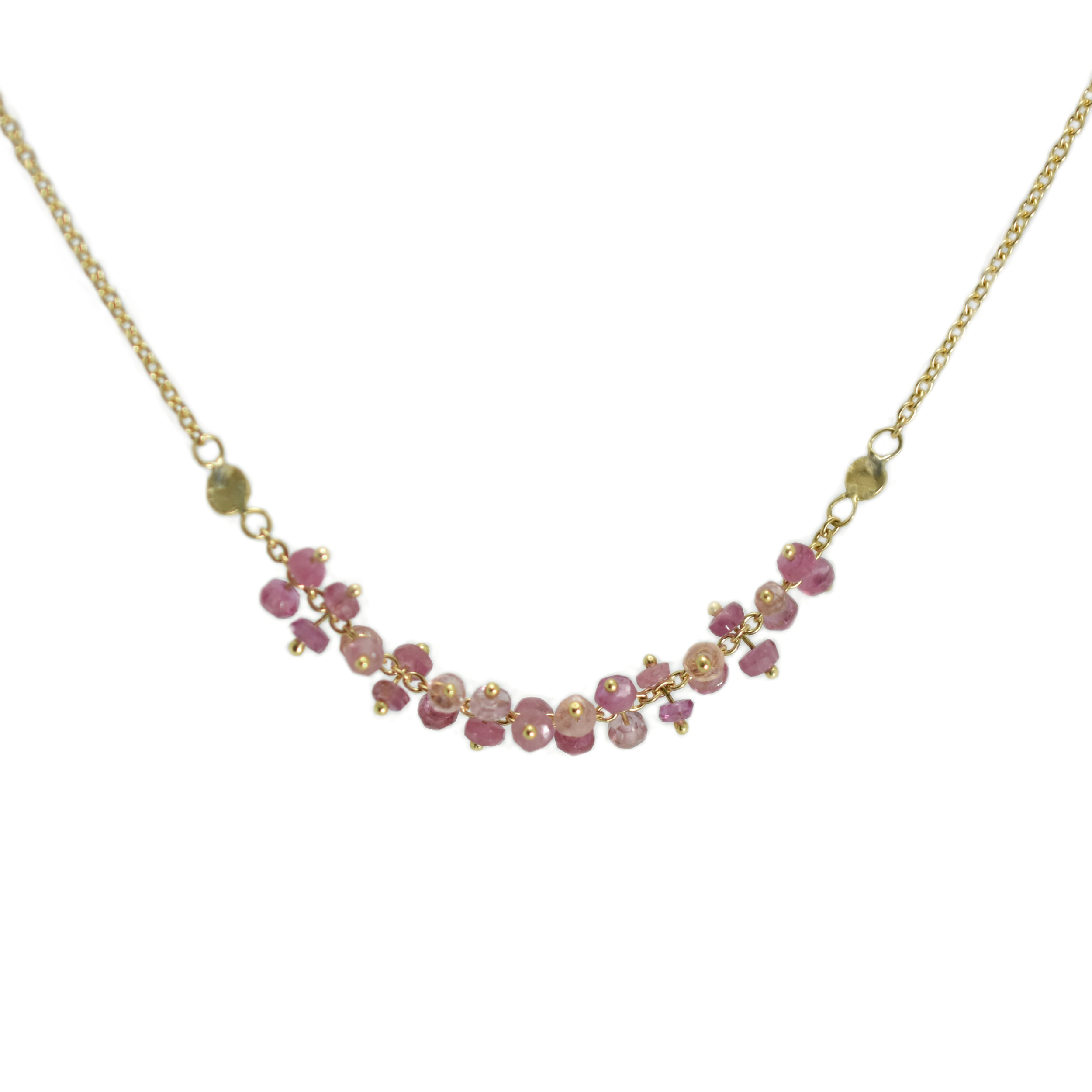 Ketting Lotus pink sapphire 18k