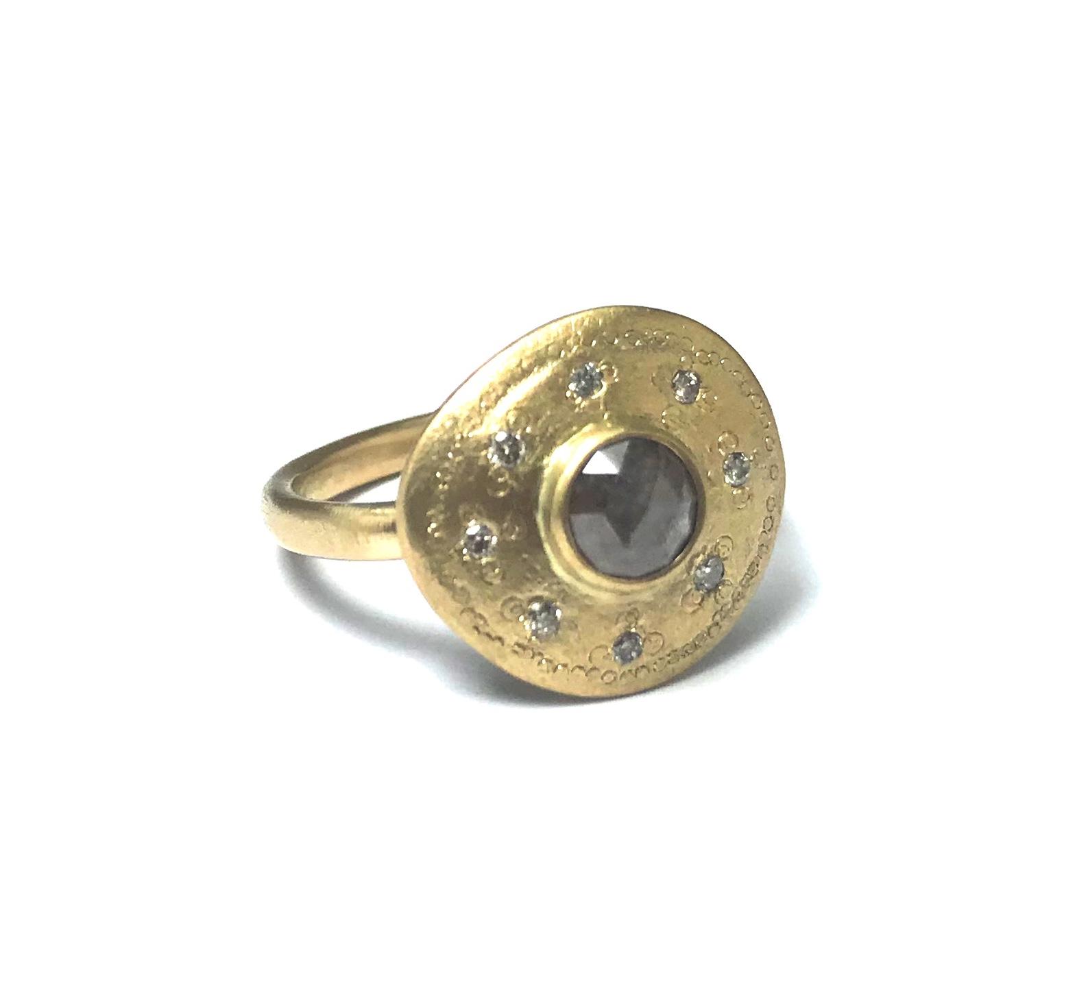 Ring Saltpepper rosecut natural diamond, 18-14k