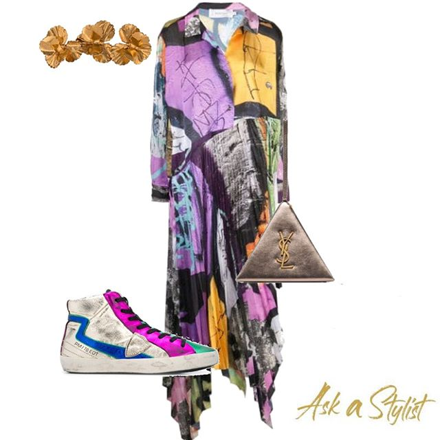 This is how you can match a color blocks dress, with the sliver sneakers and the perfect flower detailed headpiece. This outfit is so comfy yet stylish. . #askastylist #askastylistme #styledbyaas #styling #dubai #jeddah #riyadh #cairo