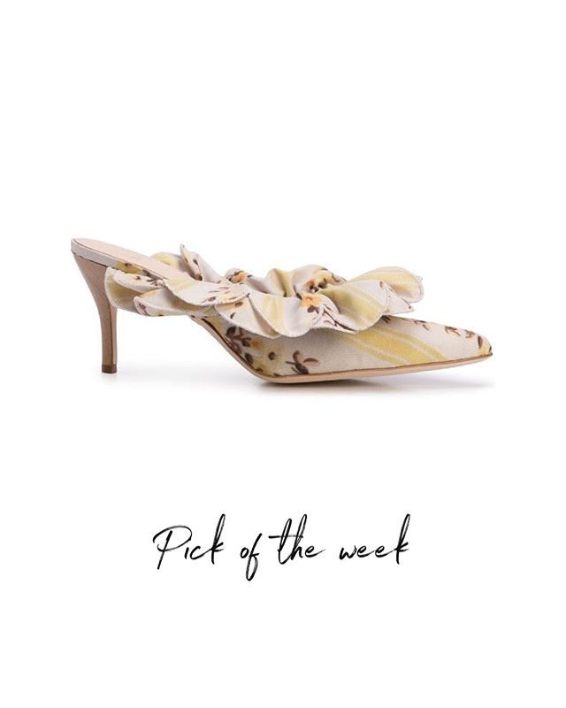 #aaspicks  Yellow leather frilled mules featuring a pointed tip, a floral print and a mid high stiletto heel. That's a piece that definitely will make your summer outfit pops out. . #askastylistme #askastylist #fashion #fashionstyling #dubai #riyadh
