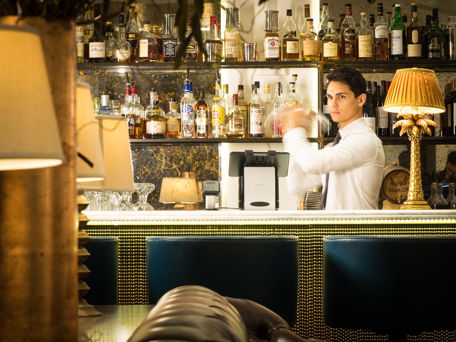 Miura POSzle in a bar