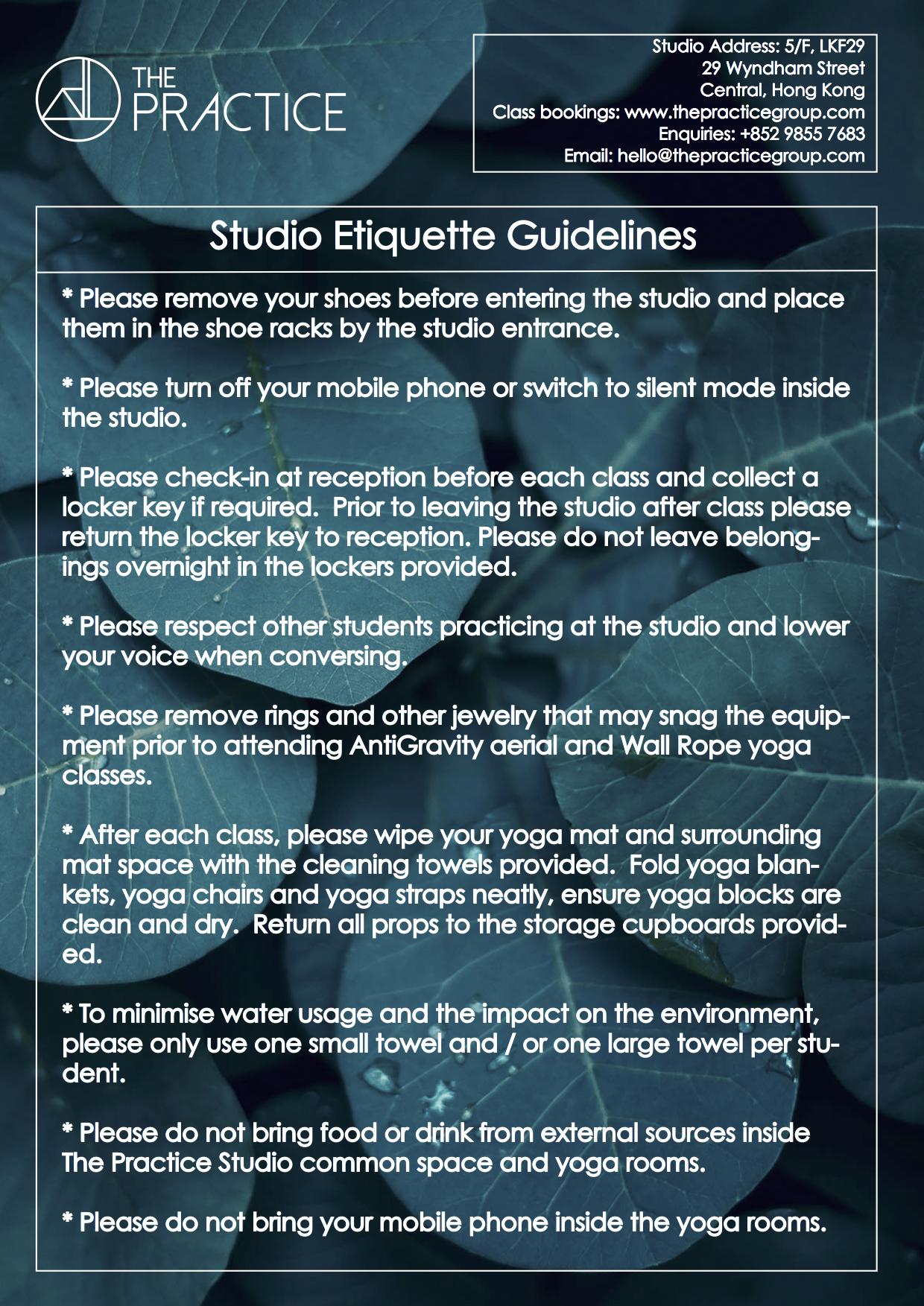Studio Etiquette