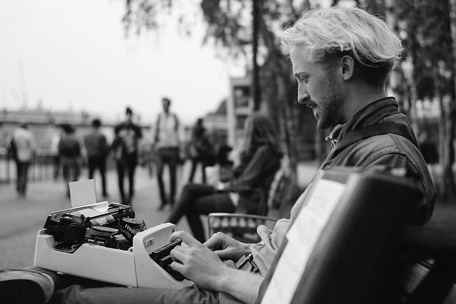 A picture of Luke, shot many years ago outside Tate Modern whilst he was writing stories for strangers with his typewriter . . . . . . . #tatebritain #tate #donmccullin #magnum #magnumphotos #documentary #shortdocumentary #indiefilm #filmmaking #shortfilm #redefineart #photography #streetphotography #photo #fineart #lfiblog #LeicaWorld #LeicaClub #lfigallery #writer #typewriter #creative #storytime #redefine #docu #leica