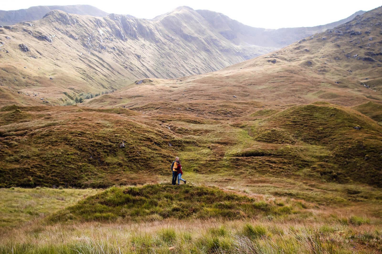 travel couple Scottish highlands