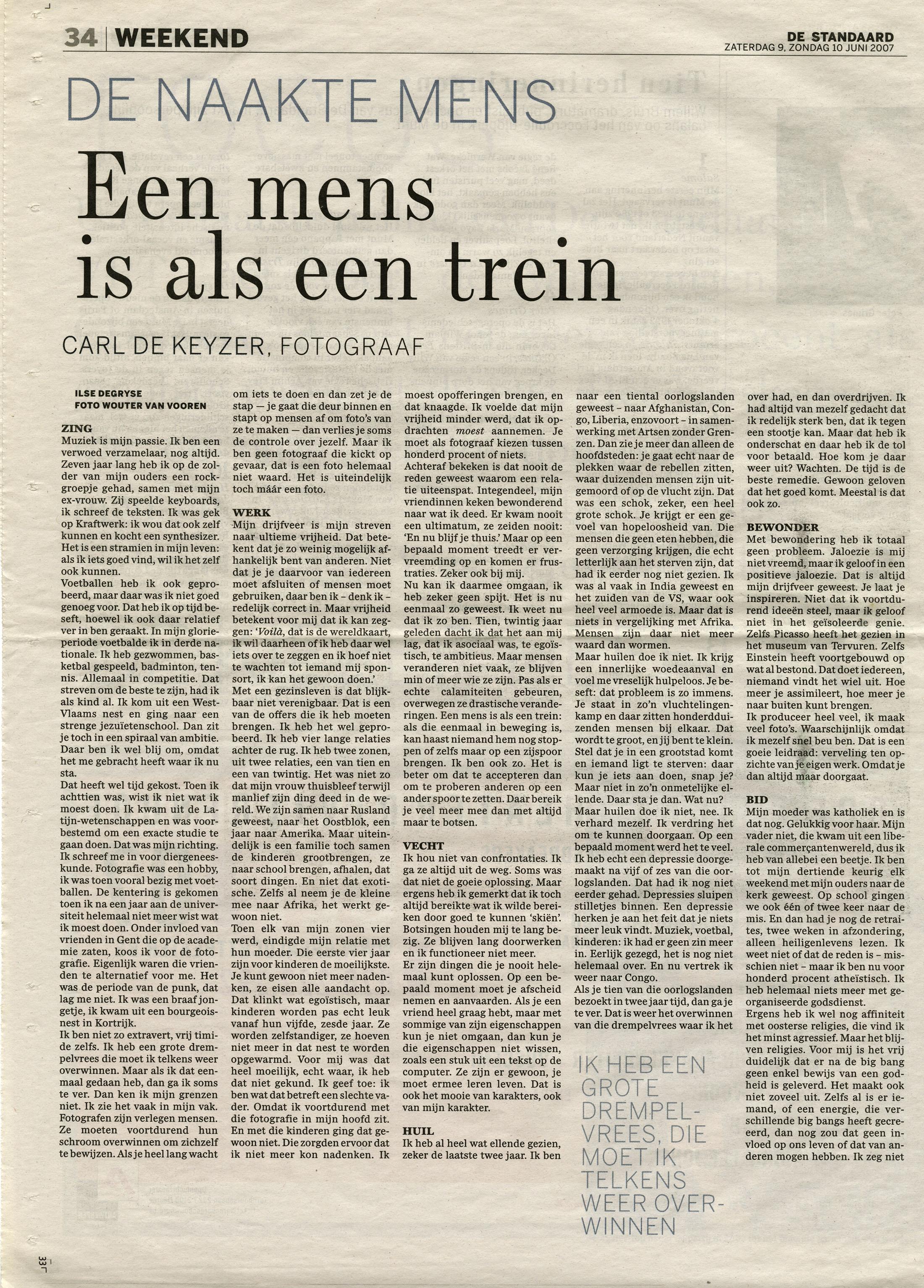 De Standaard (interview)