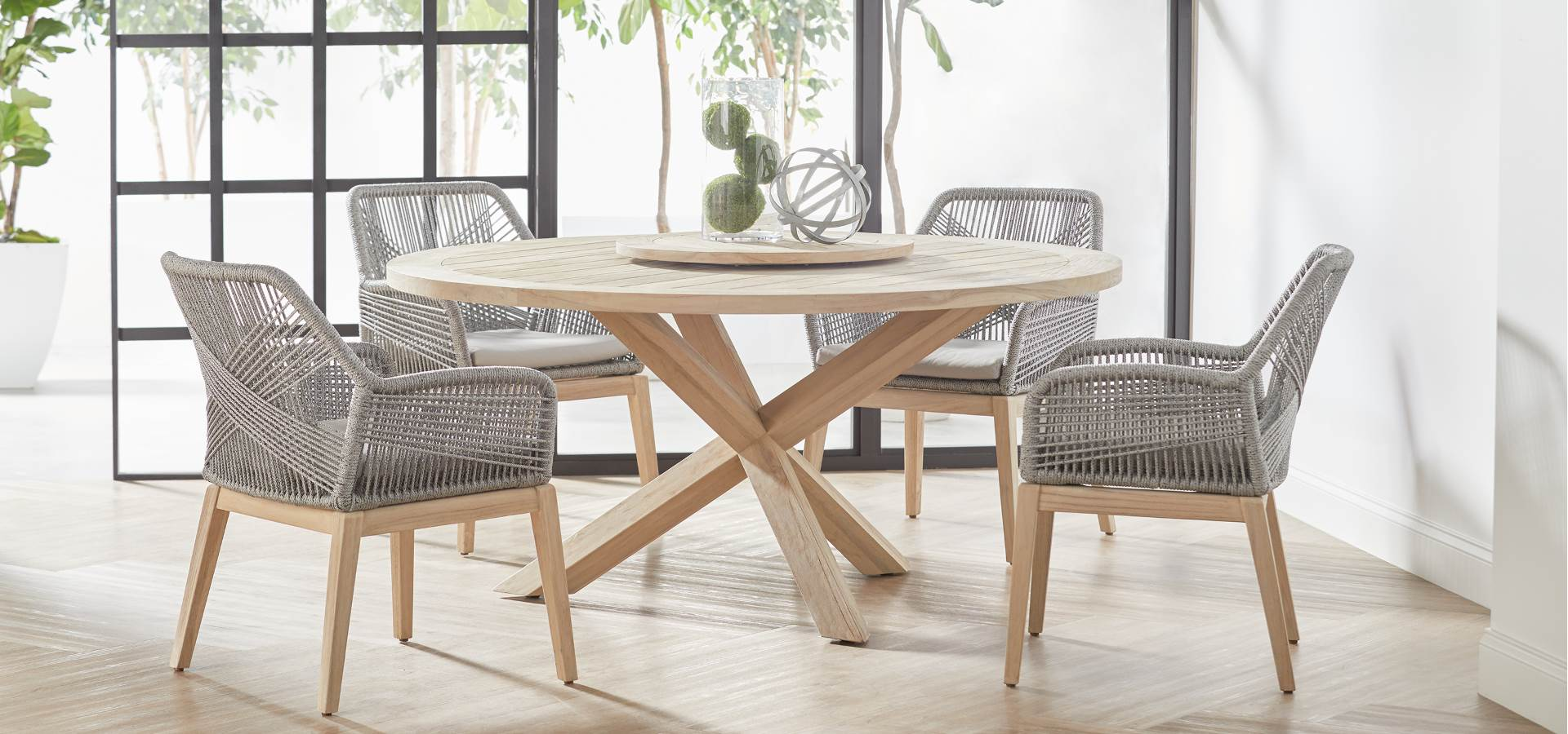 ESSENTIALS FOR LIVING   Loom Arm Chair  and  Boca Outdoor Round Dining Table