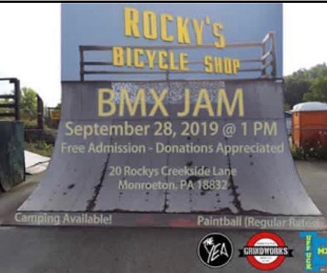 💥 📣 CALLING ALL RIDERS📣 💥 . . 🚲 🚴 Put your BMX skills to the test! . . 😁 Rocky's Bicycle Shop is hosting a BMX Jam on September 28th at 1pm.📆 . . 😎 😈 💪  Showcase your skills at their huge park located at 20 Rockys Creekside Lane Monroeton, PA. 🚲 🚲 🚲 . . . . #bmk #bikes #event #sports #sportbike #competition #bigwin #winner #jessbousa #fisebmx #vans #hometown #international #ridebmx #xgames #rockysbicycle #bmxjam #rbshop #sepetmber #sep28 #bmxskills #monroeton #pa #ridepa #bmxpa