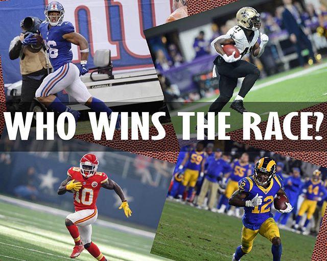 ❓ ❓ Who would you take in a race?🏃 🏃 🏈 Tyreek Hill 🏈 Alvin Kamara 🏈 Saquon Barkley 🏈 Brandin Cooks . 💥 Comment below! 💥 . . . . #race #nfl #tyreekhill #alviinkamara #saquonbarkley #brandincooks #runningback #quarterback #receiver #linebacker #espn #espnfootball #nflfootball #football #sports #exposports #exponentialmedia #helmet #gameday #bigwin #touchdown #giants #rams #cardinals #saints #catch #ballislife #soccer #bmx #whowillwin