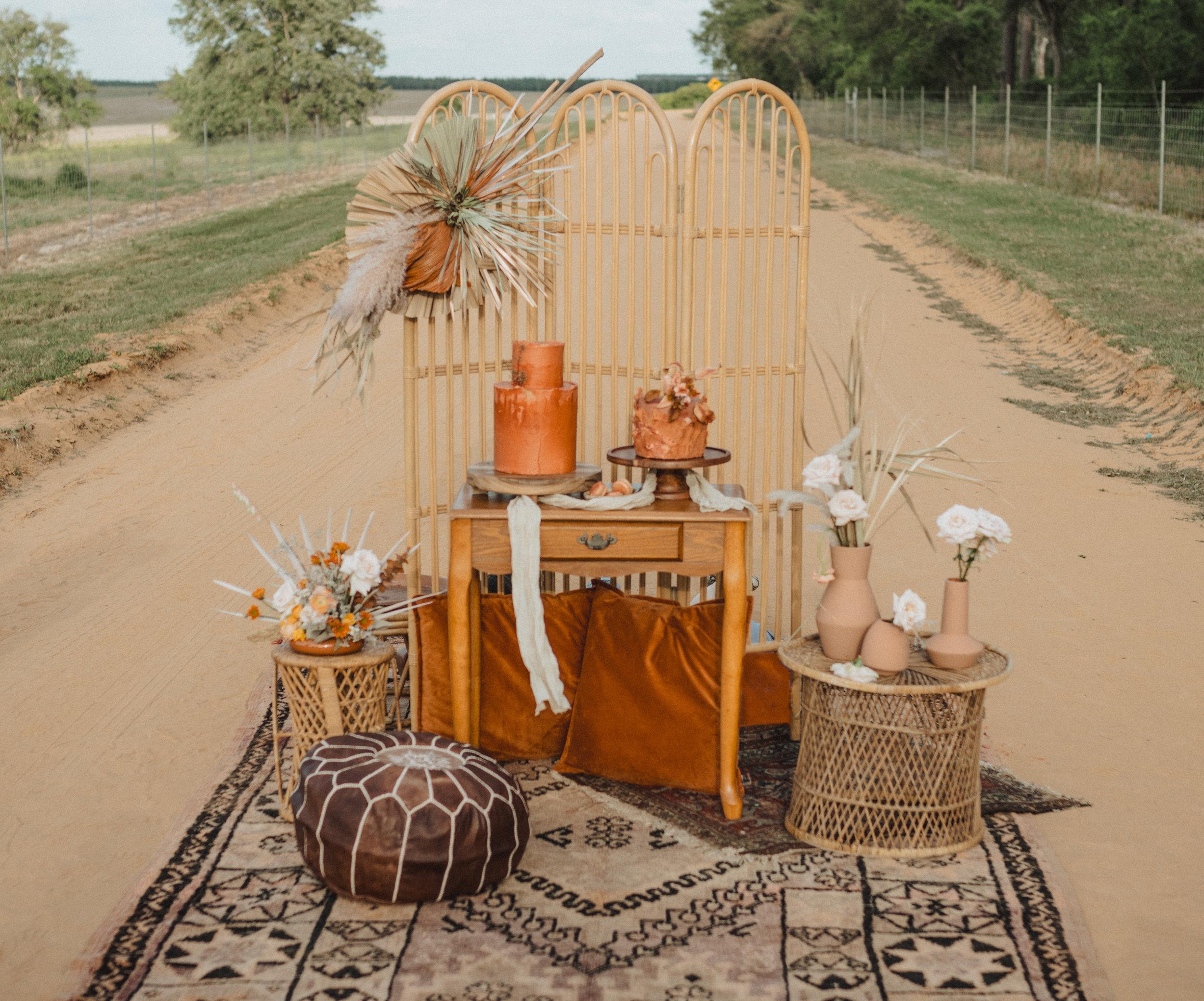 Boho Textiles Elopement Cake Table