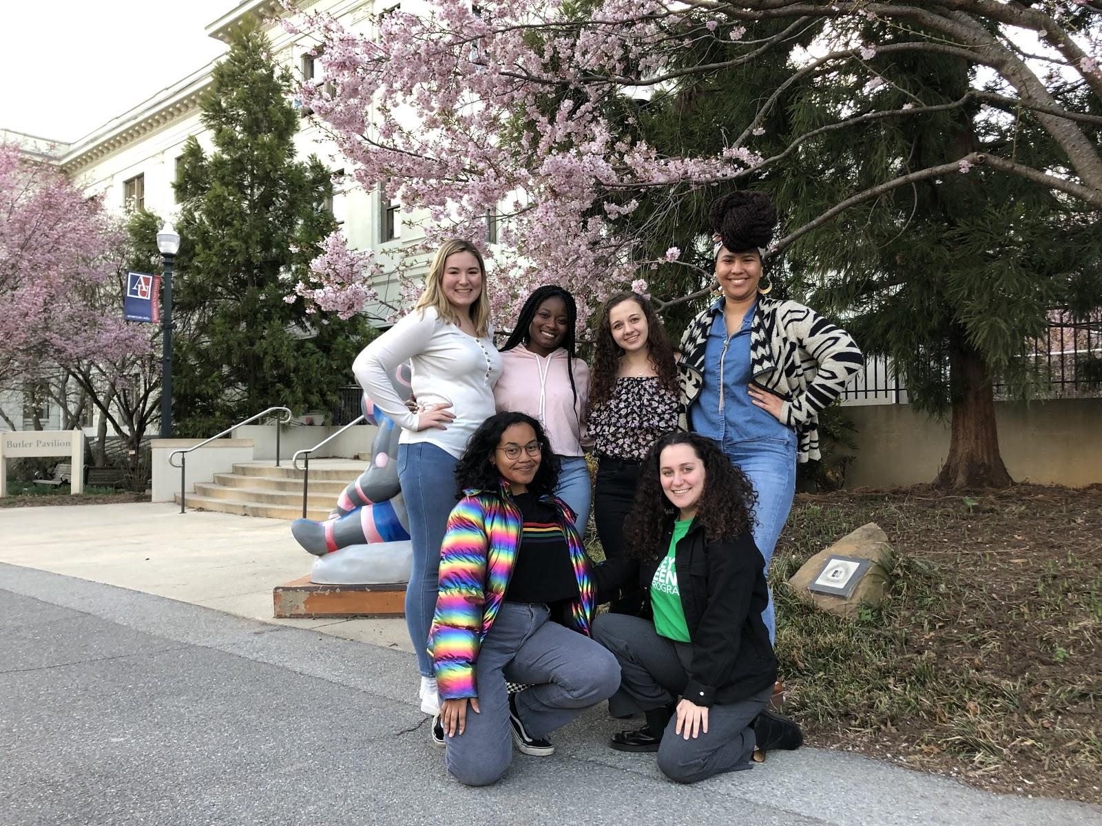 Triota's executive board from L-R: Katie Kaschub, Shelby Moring, April Emokpae, Dana Colarocco, Elana Lipkin, Miriam Starobin.