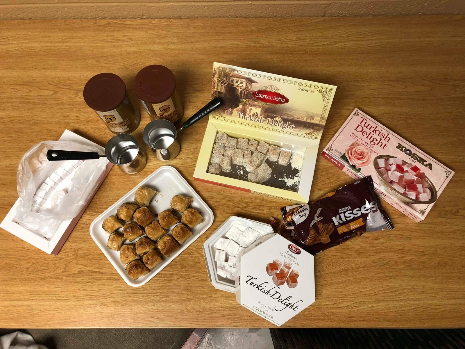 An assortment of Turkish coffee and treats.