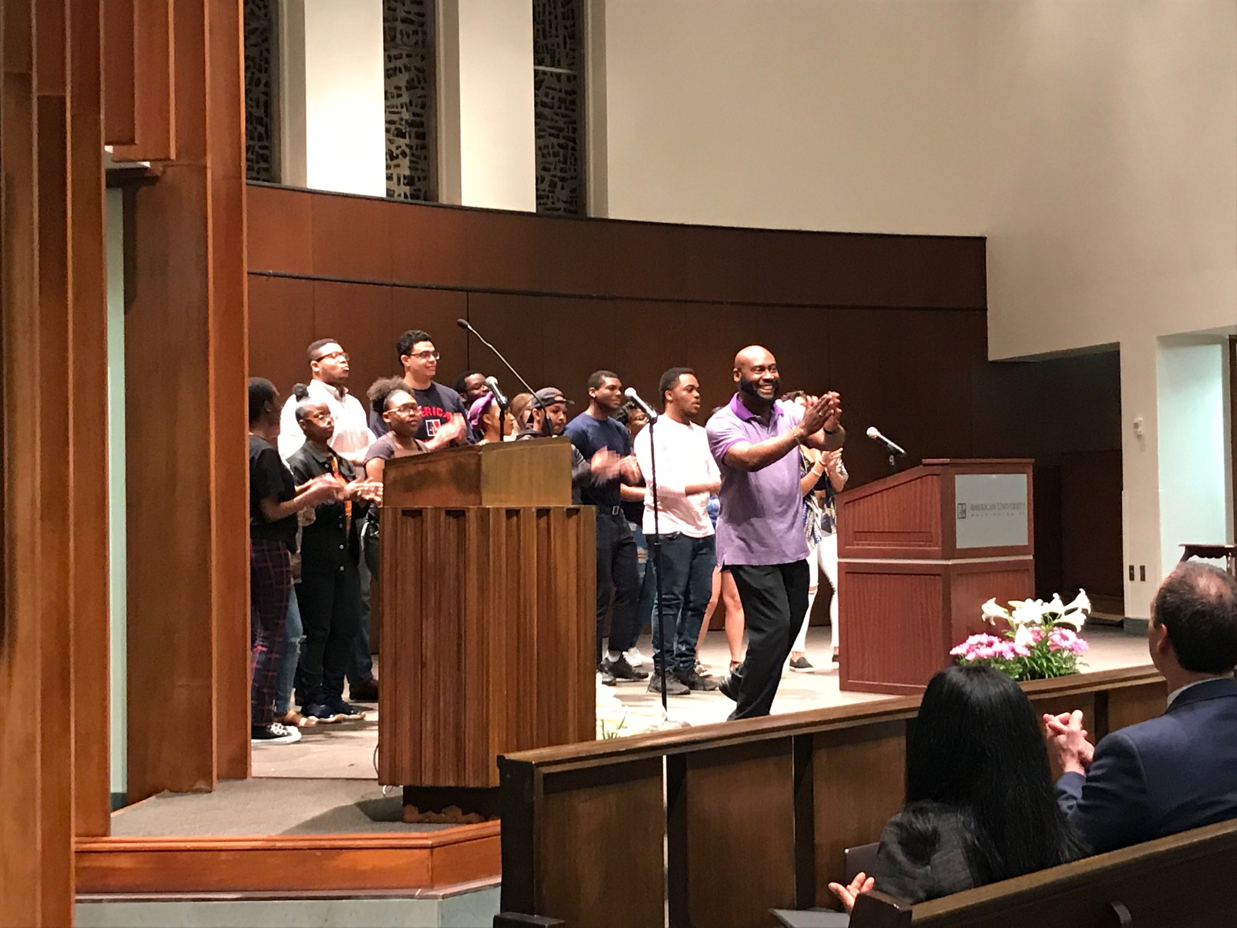 Sylstea Sledge and the AU Gospel Choir sing in Kay Chapel at the 17th annuel R. Bruce Poynter lecture on April 24th.
