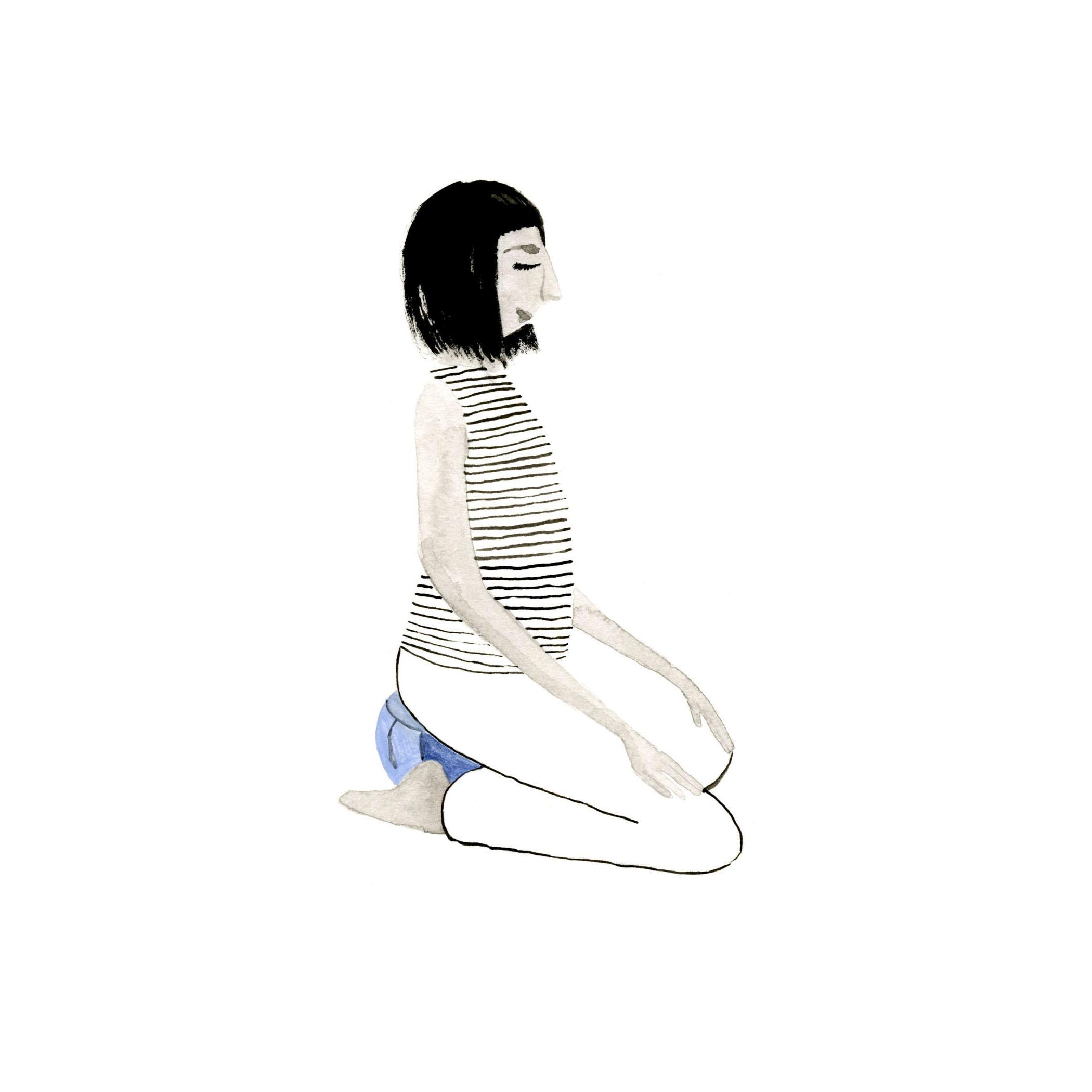 KNEELING, CUSHION between LEGS