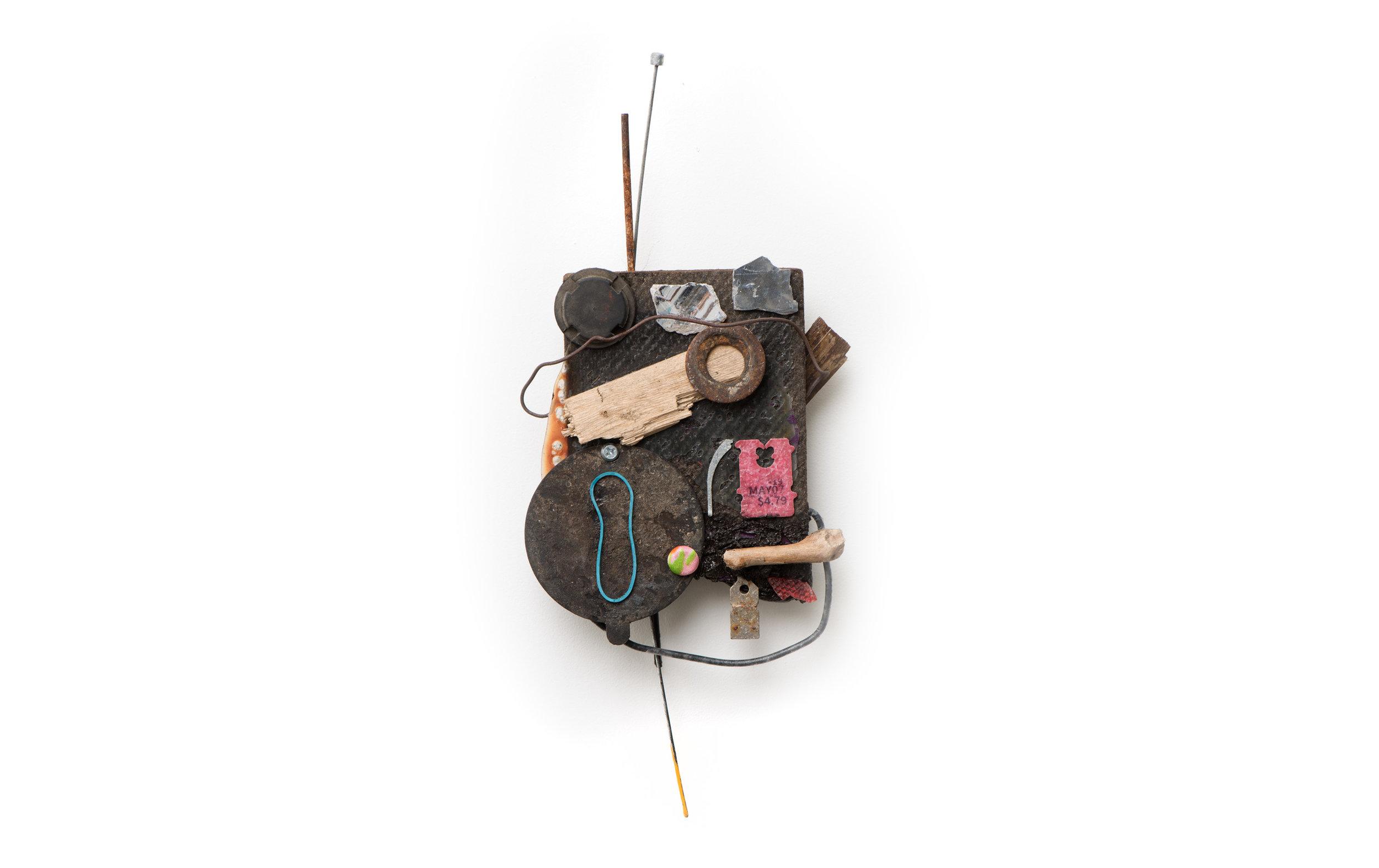 Risk/Reward  Oil, found object, hardware 13 x 5 1/2 inches    New York, 2018