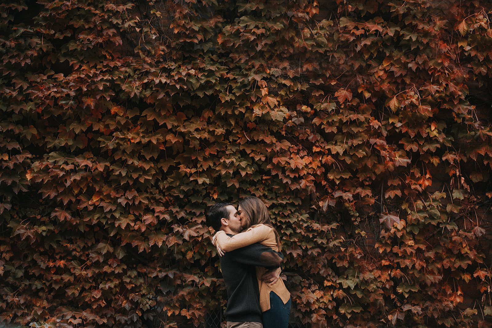 Beacon Hill Massachusetts engagement photos with fall foliage