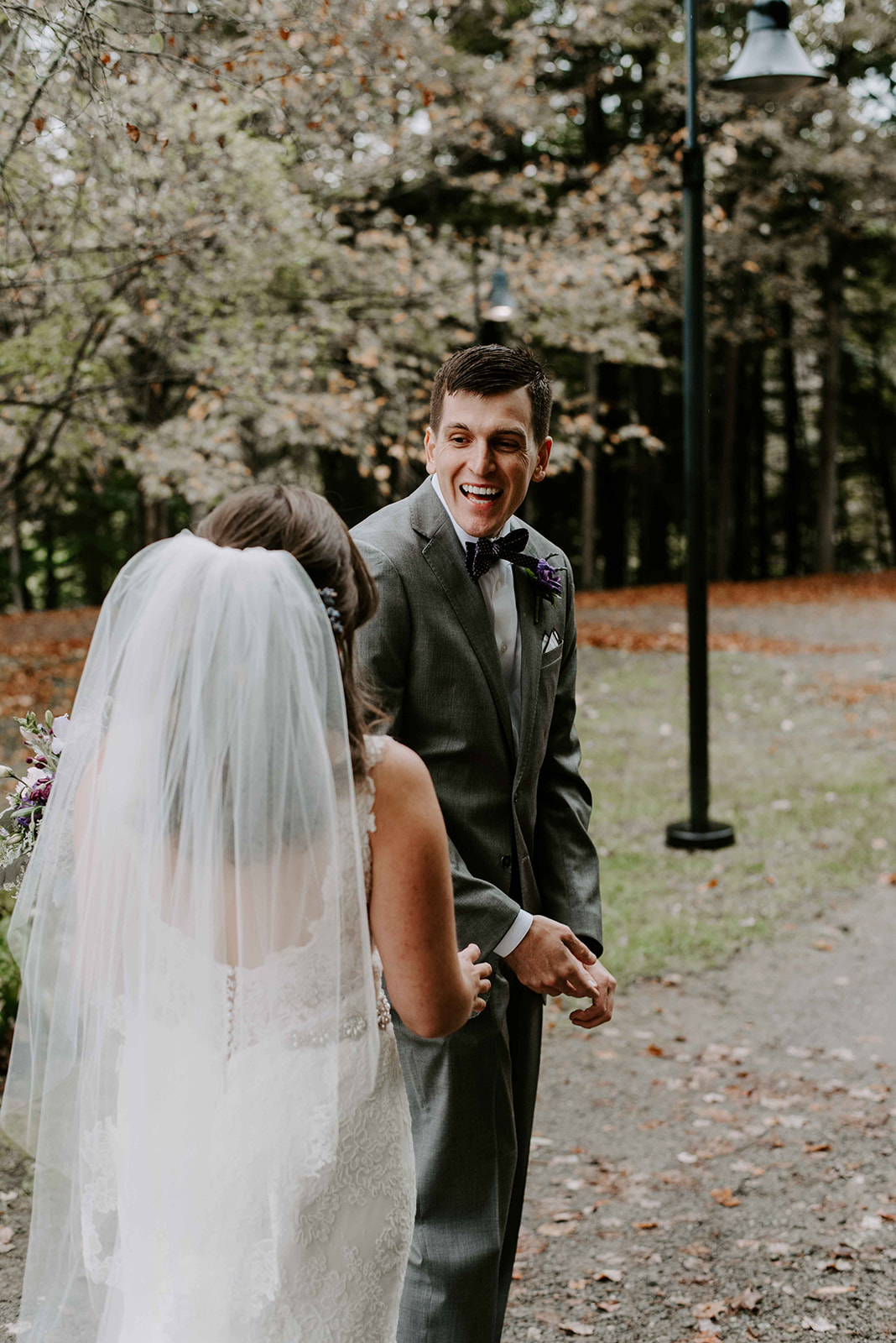 New Hampshire wedding photographer for a boho and intimate first look at Stonewall Farm, Keene, NH