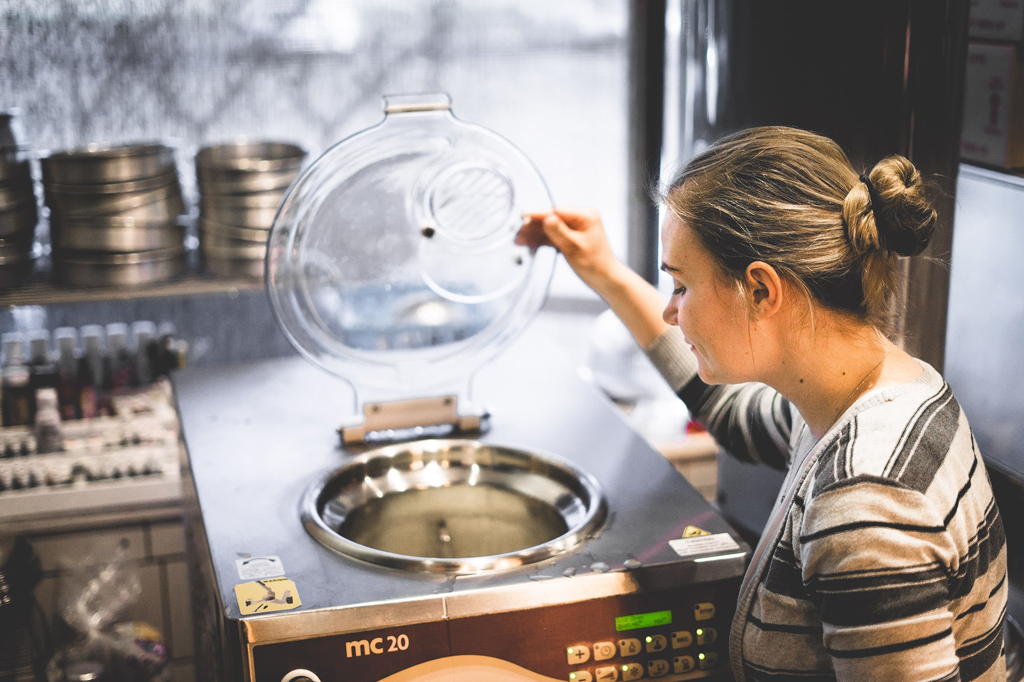 Pastry Chef Sarah Bruggeman prepares gelato with the Cattabriga Masterchef.