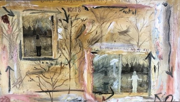 falling   mixed media on canvas   18 x 33 inches   Available in store