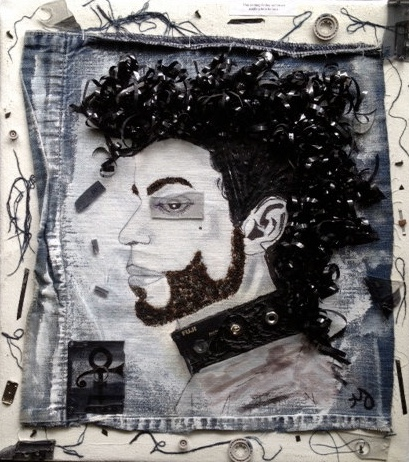 Tribute to Prince   mixed media on canvas   14 x 16 inches   SOLD