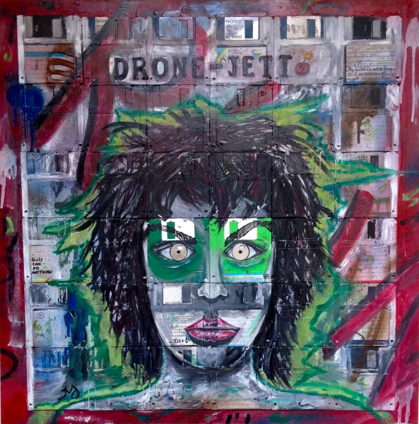 Drone-Jett   oil, ink, spray, & floppy disks on wood panel    24 x 24 inches   SOLD