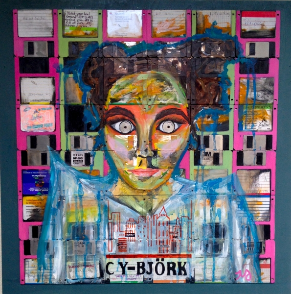 Cy-Bjork | oil, ink, & floppy disks on wood panel | 24 x 24 inches | SOLD