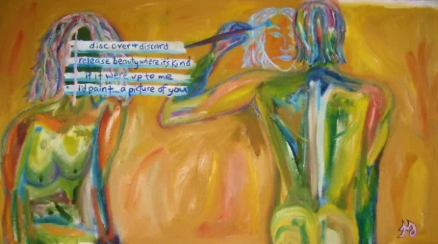 Painters | oil, oil pastel, & spray on canvas | 51.5 x 28 inches | SOLD