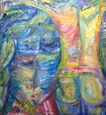 Torso x Two | oil & oil pastel on canvas | 26 x 28 inches | SOLD