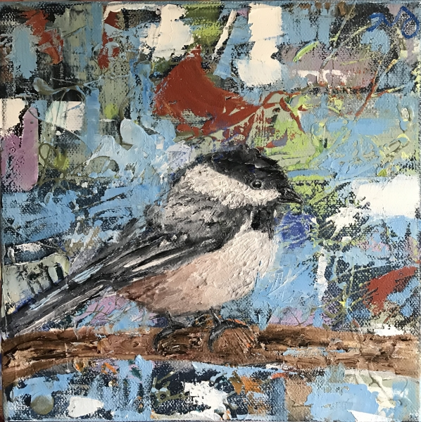 black capped chickadee   oil on canvas   8 x 8 inches   SOLD