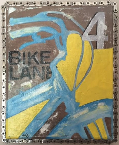 bike 4   oil on canvas with bike chain   8 x 10 inches   SOLD