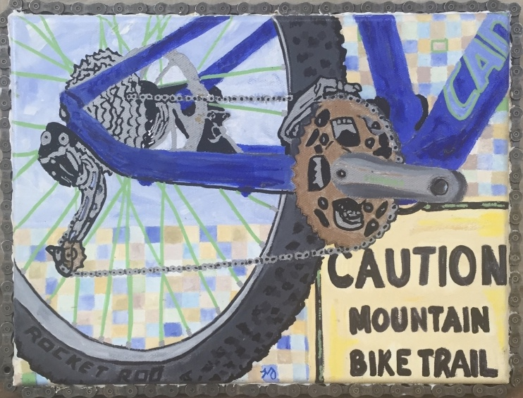 Cannondale 3   oil on canvas with bike chain   9 x 12 inches   SOLD