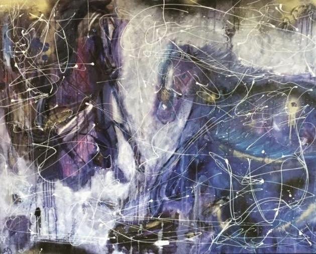 Wild Horses   oil, acrylic, & spray on canvas   5 x 4 feet   SOLD
