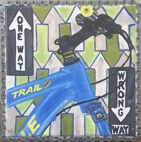 Cannondale 2   oil on canvas with bike chain   8 x 8 inches   SOLD