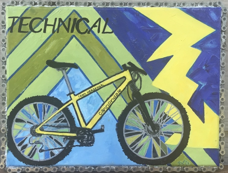 Cannondale 1   oil on canvas with bike chain   9 x 12 inches   SOLD