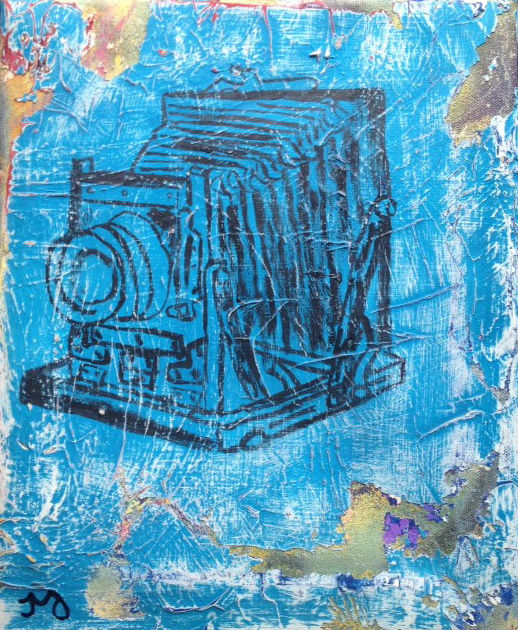 camera 2   oil & acrylic on canvas   11 x 12.5 inches   SOLD