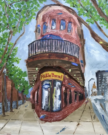Pickle Barrel   16 x 20 inches   oil on canvas   available in store