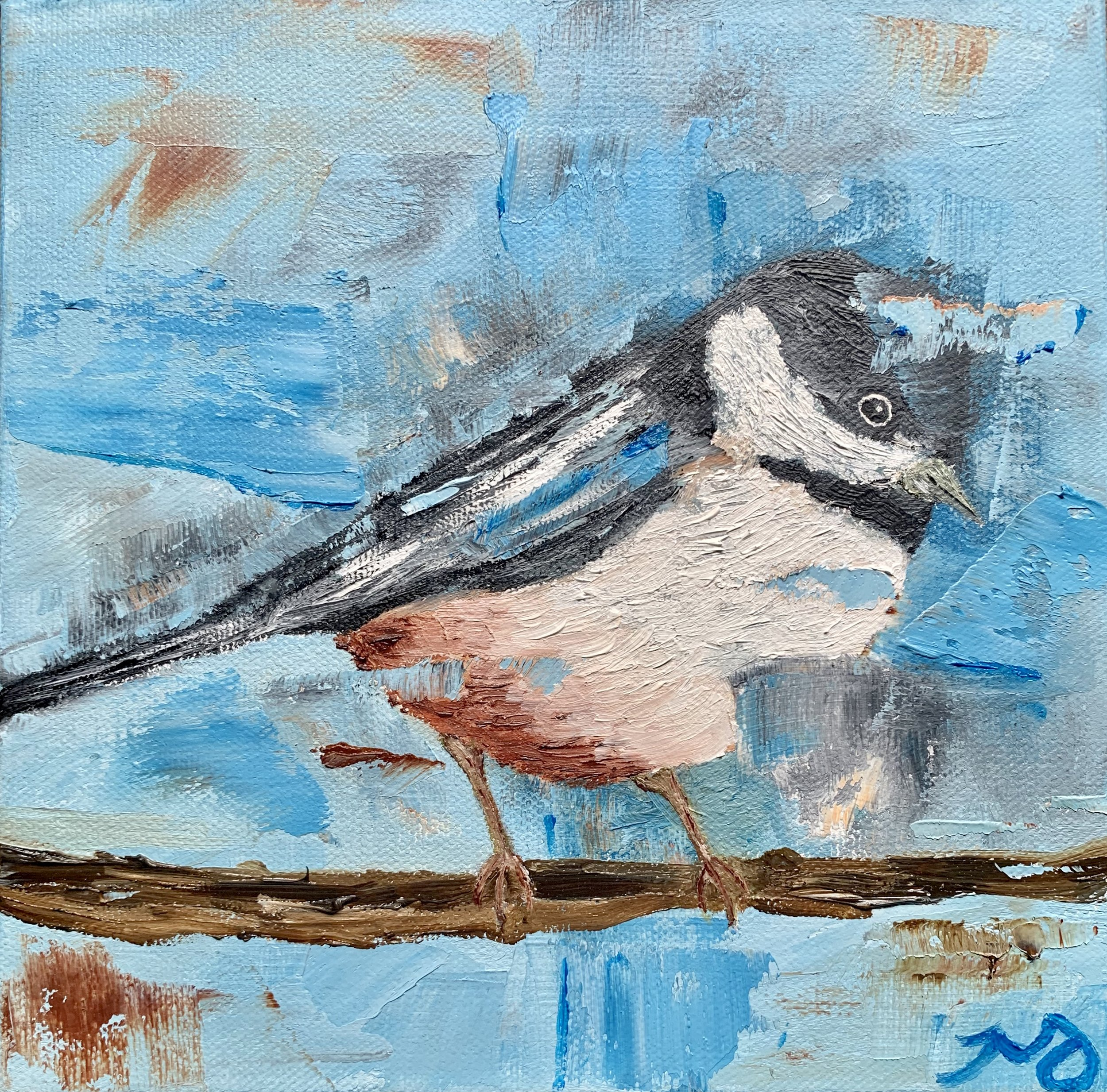 Chickadee   8 x 8 inches   oil on canvas   SOLD