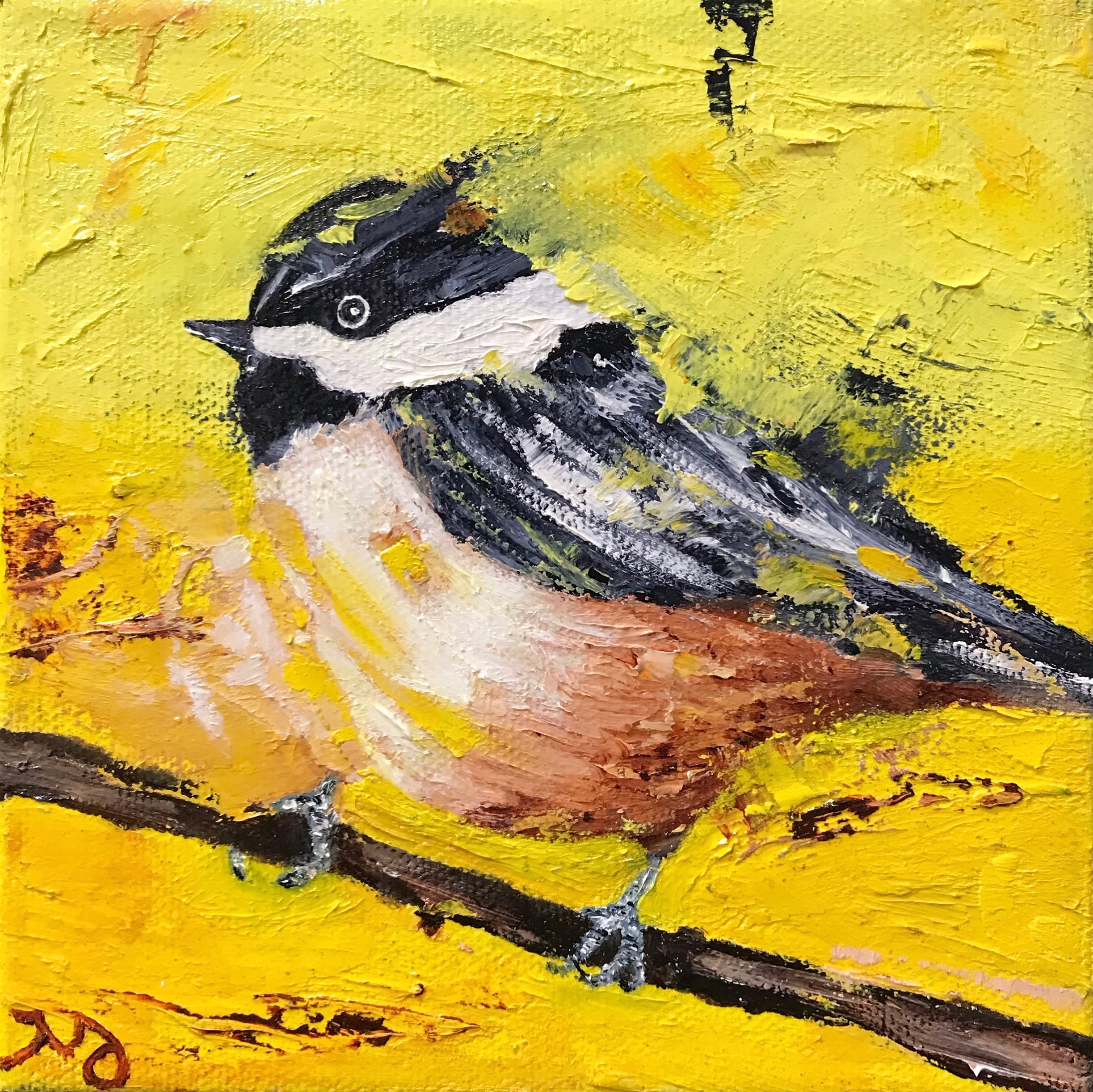 Chickadee II   oil on canvas   8x 8 inches   SOLD