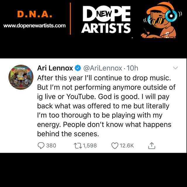 Ari Lennox says that she will no longer be performing live after this year 👀😳 Thoughts? • • • #DNA #DopeNewArtists #DopePeopleMeet #AriLennox #Dreamville #IGLive #Youtube #NewMusic #MusicNews #RnB #ATL #LA #NYC #Chicago #Detroit #Broward #Miami #Philly #DC #Houston #Charlotte #Houston #Louisville