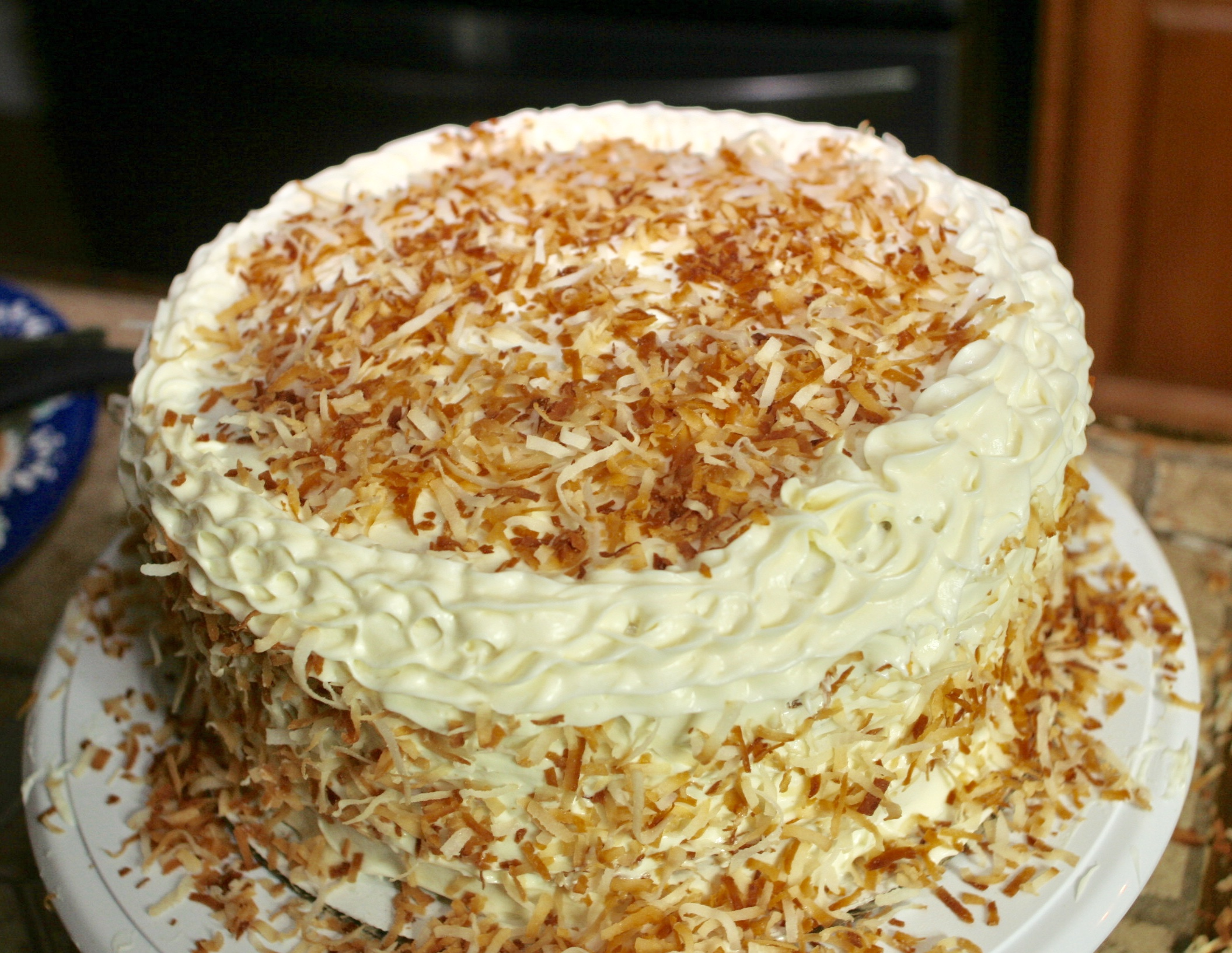 Toasted Coconut 3 layer cake with Cream Cheese Frosting