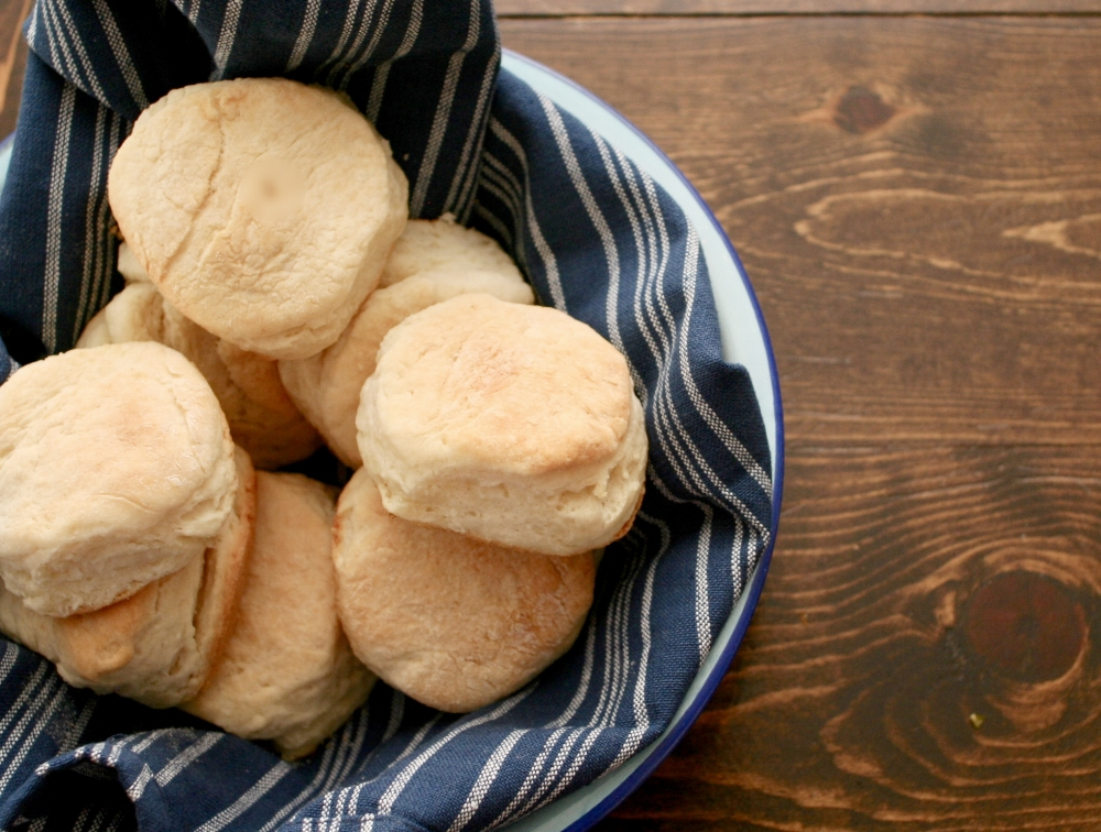 Homemade from scratch biscuits. No whopping on the counter!