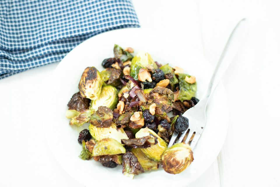 Roasted Brussel Sprouts with Cranberries and Pecans