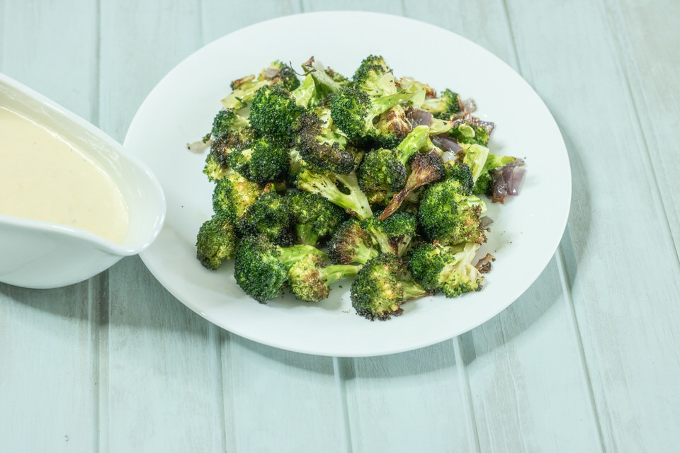 Roasted Broccoli with Tangy Cheese Sauce