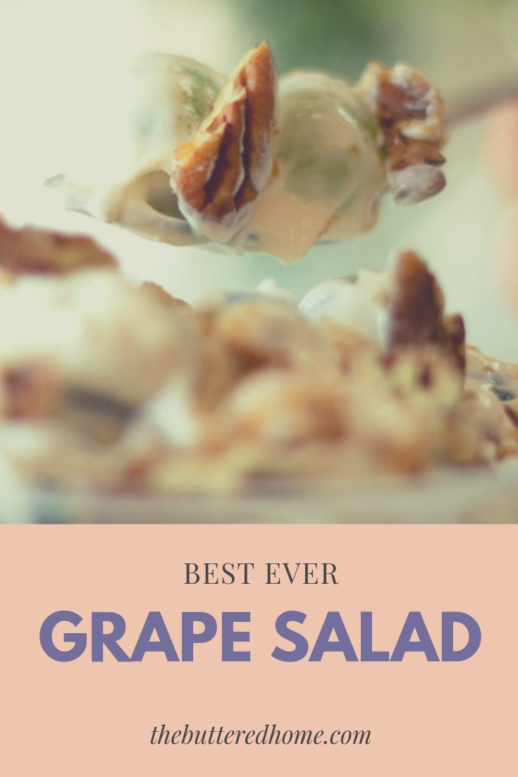 Best Ever Grape Salad. An unexpected surprise of tangy and sweet. This creamy salad is filled with green and red grape goodness. Sweetened with a creamy pudding and cream as well as the crunch of pecans and brown sugar.